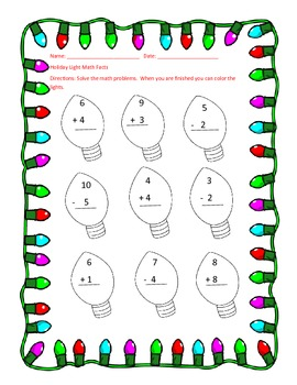 Christmas Light Addition and Subtraction
