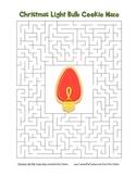 """Christmas Light Bulb Cookie"" Maze! Holiday FUN! (Color and Black Line)"