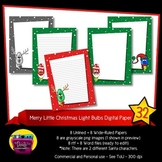 Christmas Light Bulb Digital Paper - Rudolph and Santa Lined and Unlined