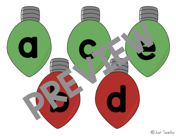 Christmas Light Bulb Letters: ABC Order & Sight Word Center