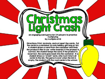 Christmas Light Crash-A Card Game for Multiplying by Multiples of Ten
