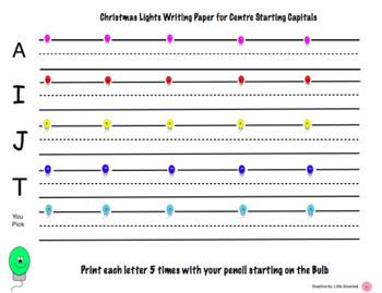 Christmas Light Letter writing paper HWT Centre Starting Capitals