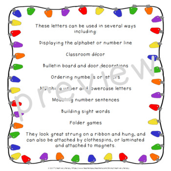 Christmas Light Letters and Numbers