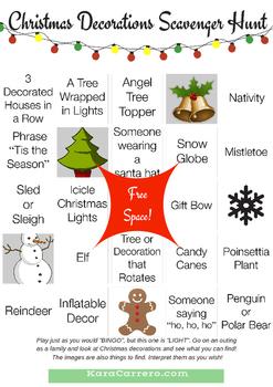 Christmas Light Scavenger Hunt Bingo