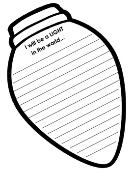 Christmas Lightbulb Writing Template...I will be the light in the world!