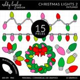 Christmas Lights 2 Outlined Clipart [Ashley Hughes Design]