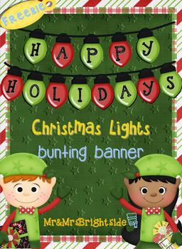 Christmas Lights Bunting Banner A-Z Freebie