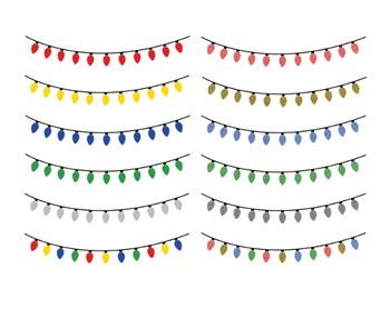 Christmas Lights Bunting, Digital Clipart, Christmas Lights Set #126