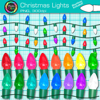 Christmas Lights Clip Art {Photo Graphics Decorations for Holiday Activities}