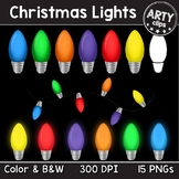 Christmas Lights Clipart ( Color & Glow + B&W ) {Arty Clips}
