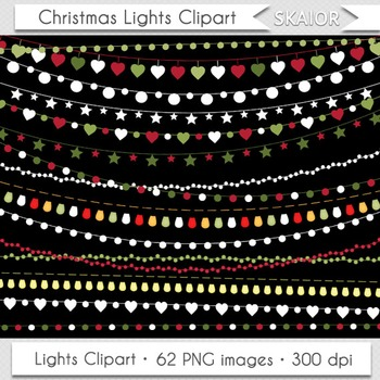 Christmas Lights Clipart String Lights Fairy Lights Party Lights Scrapbooking