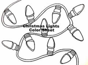 Christmas Winter Holiday Lights Color Sheet