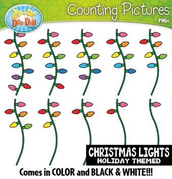 Christmas Lights Counting Pictures Clipart {Zip-A-Dee-Doo-Dah Designs}