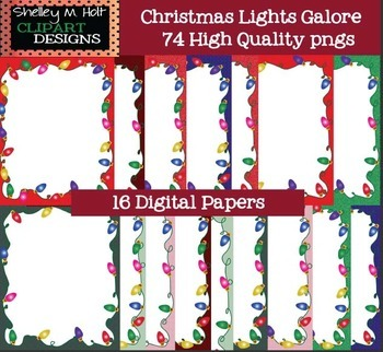 Christmas Lights, Frames, Digital Paper, and Strands Clipart