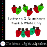 Christmas Lights Letters and Numbers Black and White