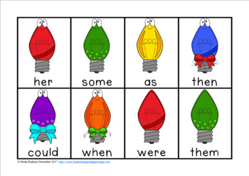 Christmas Lights Sight Word Race