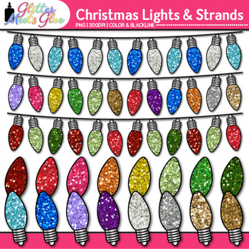 Christmas Lights Clip Art {Rainbow Decorations for Holiday Activities}