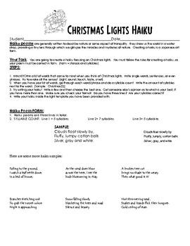 Christmas Lights Writing Activity - Rhyme Scheme Teaching Packet