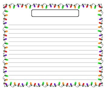 Christmas Lights Writing Template