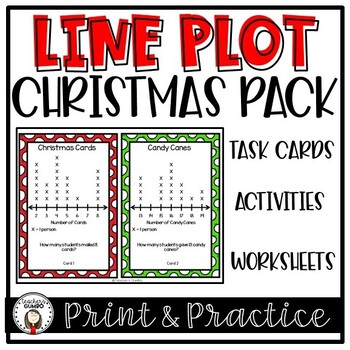 Christmas Line Plot Activities, Task Cards and Worksheets