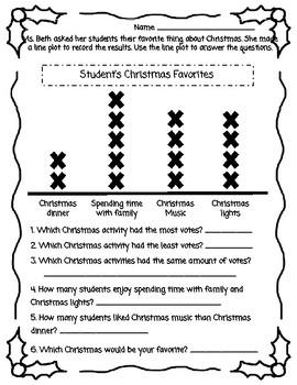 Christmas Line Plots, Tally Chart, Bar Graphs, Pictographs