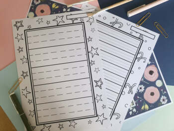 Christmas Lined Paper with coloring-in borders - Dotted thirds for writing