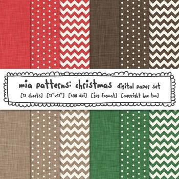 Christmas Linen Texture Digital Paper, Red, Green, Brown, Chevron, Polka Dots