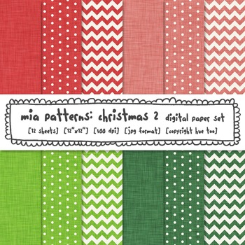 Christmas Linen Texture Digital Paper, Red, Green, Pink, Chevron, Polka Dots
