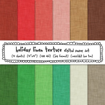 Christmas Linen Texture Digital Paper, Red, Green and Brown Linen Backgrounds