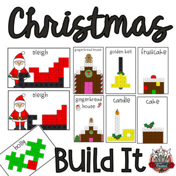 Christmas Linking Cube Math Mat Pictures