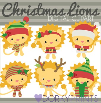Christmas Lions Digital Clip Art