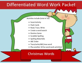 Christmas List Word Work Packet – 10 words, no prep spelling packet, 50+ pages
