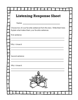Christmas Listening Center Response Sheets