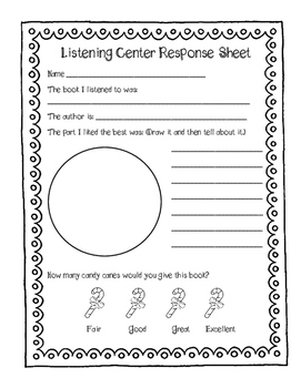 Christmas Listening Center Response Sheets