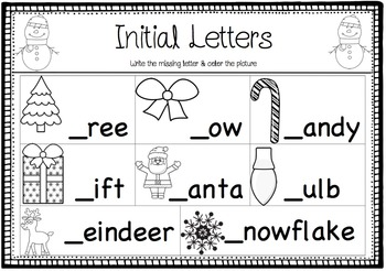 Christmas Literacy Activities (Vocabulary & Spelling)