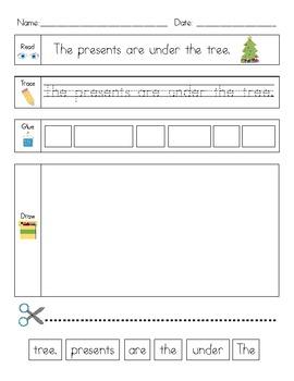 Christmas Literacy Activity: Read, Trace, Glue, Draw