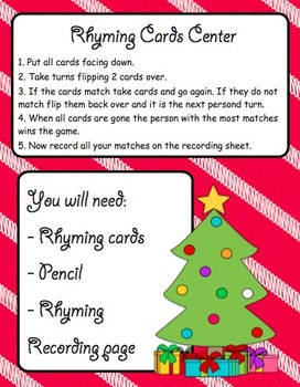 Christmas Literacy Centers and Printables