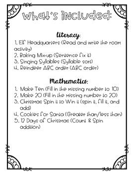 Christmas Literacy & Math Fun Set