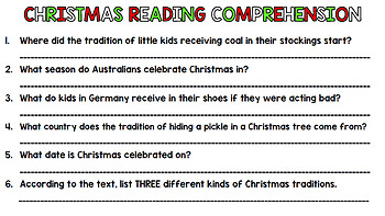 Christmas Literacy - Special Education - Life Skills - Print & Go - Reading