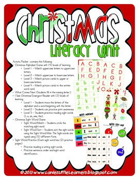 Christmas Literacy Unit - PreK to 2nd Grade Printables