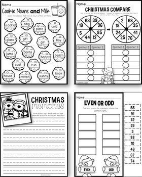 Christmas First Grade Printables - Math and Literacy