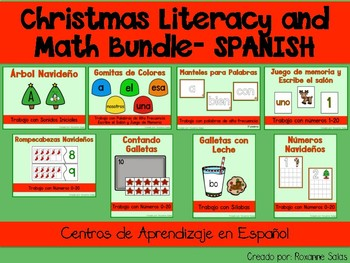 Christmas Literacy and Math Center Bundle- SPANISH (Centros de Aprendizaje)