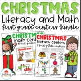 Christmas Literacy and Math Centers First Grade Bundle