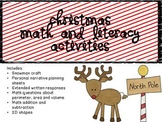 Christmas Literacy and Math with Snowman Craft and Personal Narrative Unit
