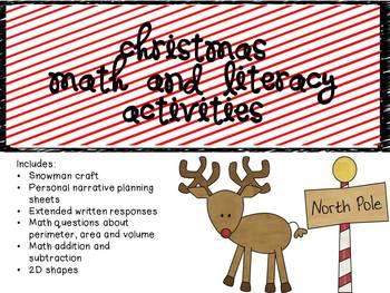 Christmas Literacy and Math with Snowman Craft and Persona