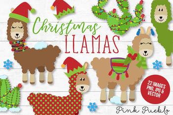Christmas Llama Clipart and Vectors