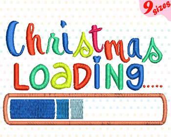 Christmas Loading Embroidery Design xmas ornaments santa is coming 143b