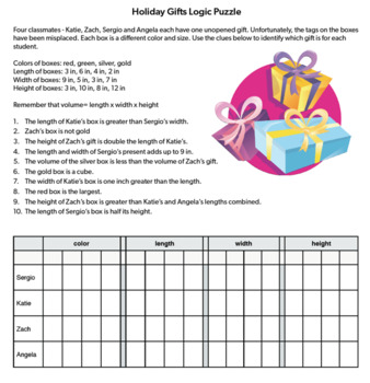 Two Christmas Logic Puzzles, Bellringers, Critical Thinking Puzzles