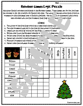 christmas logic puzzle free by carrie whitlock tpt. Black Bedroom Furniture Sets. Home Design Ideas