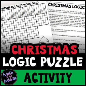 Christmas Logic Puzzle for Middle School - Christmas Math Activity